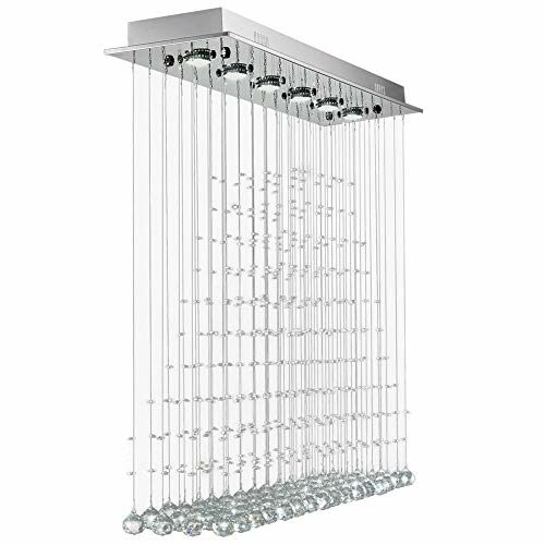 7Pm Modern Crystal Rectangle Chandelier Raindrop Ceiling Light Fixture For Kitchen Island Dining Room Living Room L40 X W10 X H40 Inches 0