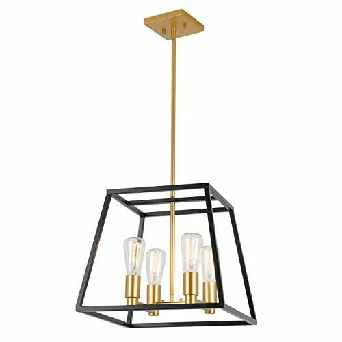 Artika Car15 On Carter Square 4 Pendant Light Fixture Kitchen Island Chandelier With A Steel Black And Gold Finish 8 0