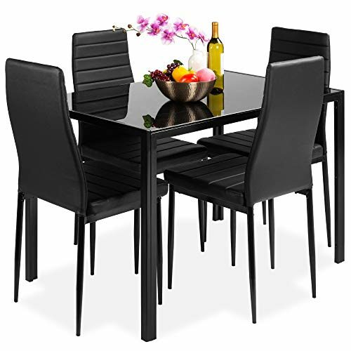 Best Choice Products 5 Piece Kitchen Dining Table Set For Dining Room Kitchen Dinette Compact Space Wglass Table Top 4 Faux Leather Metal Frame Chairs Black 0