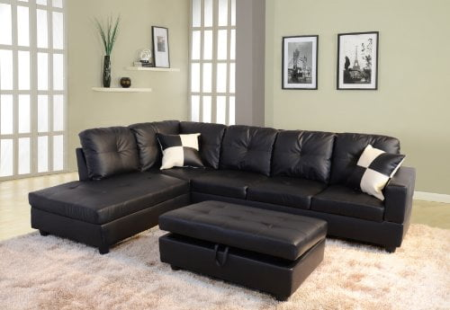 Beverly Fine Funiture Sectional Sofa Set 91A Black 0