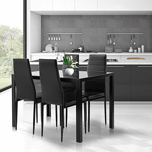 Black Dining Table And Chairs Set 5 Piece Tempered Glass Top Table And Pu Leather Chairs Of 4 For Small Kitchen Dining Room Living Room 0