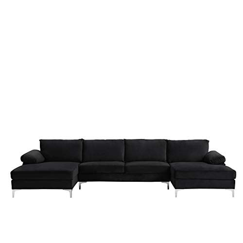 Casa Andrea Milano Modern Large Velvet Fabric U Shape Sectional Sofa Double Extra Wide Chaise Lounge Couch Midnight 0 1