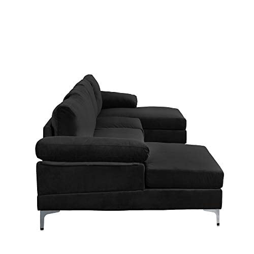 Casa Andrea Milano Modern Large Velvet Fabric U Shape Sectional Sofa Double Extra Wide Chaise Lounge Couch Midnight 0 2