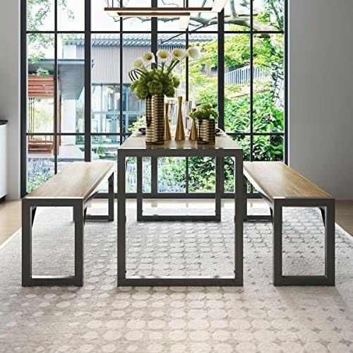 Decok 3 Piece 48 Inch Dining Table Set With Two Benches Kitchen Table Set For 4 6 Personsiron Frame And Particle Board Top Perfect For Breakfast Nook Living Roomindustrial Design Browngray 0