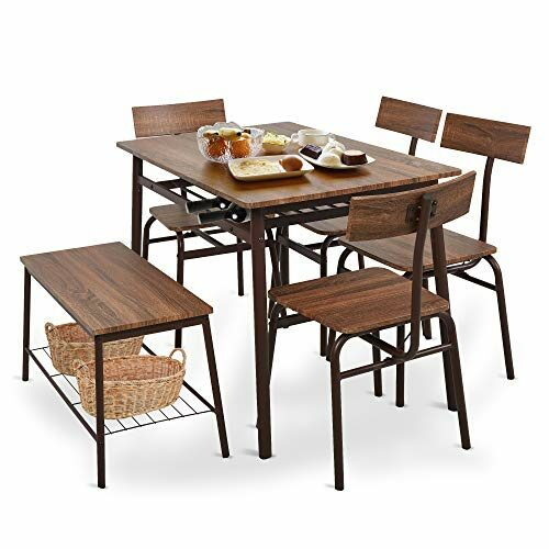 Dporticus 6 Piece Industrial Dining Set For Kitchen Dining Room Wstorage Rackwooden Dining Table4 Ergonomic Chair 1 Benchstainless Steel Framebrown 0