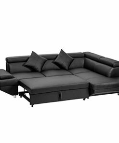 Fdw Sofa Sectional Sofa Bed Futon Sofa Bed Sofa For Living Room Couches And Sofas Sleeper Sofa Pu Leather Sofa Set Corner Modern Queen 2 Piece Contemporary Upholsteredblack 0
