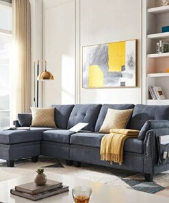 Honbay Reversible Sectional Sofa Couch For Living Room L Shape Sofa Couch 4 Seat Sofas Sectional For Apartment Bluish Grey 0