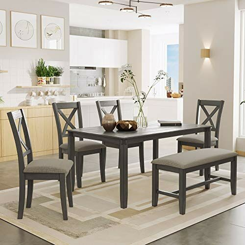 P Purlove 6 Piece Dining Table Set Wood Dining Room Table And 4 Chairs With Cushions 1 Bench With Cushion Retro Style Kitchen Table Set For 6 Persons Retro Gray 0