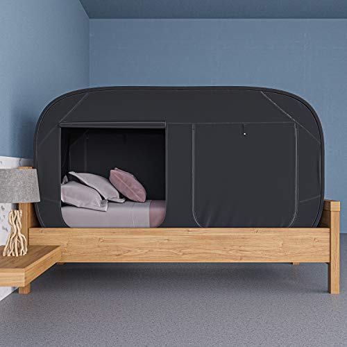 Skywin Bed Tent Pop Up Privacy Tent For Twin Bed And Bunk Beds Easy To Set Up And Take Down Bunk Bed Tent Dim Interior Helps You Sleep Soundly Great For Shared Rooms Black Twin 0 0