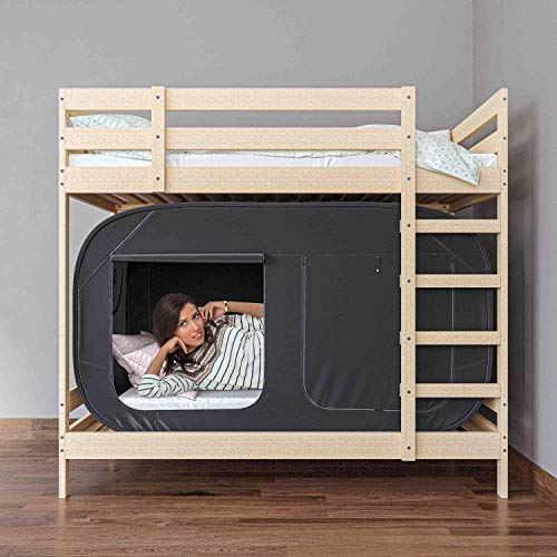 Skywin Bed Tent Pop Up Privacy Tent For Twin Bed And Bunk Beds Easy To Set Up And Take Down Bunk Bed Tent Dim Interior Helps You Sleep Soundly Great For Shared Rooms Black Twin 0 3