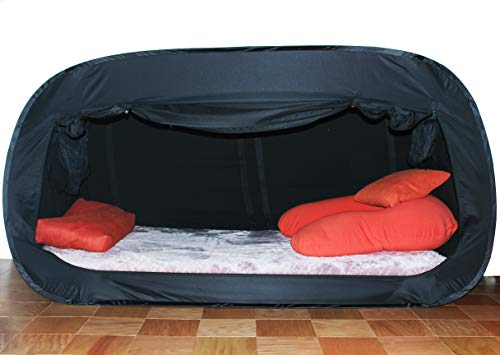 Skywin Bed Tent Pop Up Privacy Tent For Twin Bed And Bunk Beds Easy To Set Up And Take Down Bunk Bed Tent Dim Interior Helps You Sleep Soundly Great For Shared Rooms Black Twin 0 5