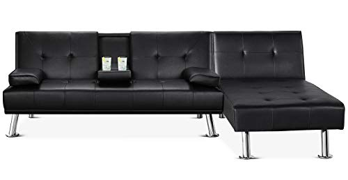 Yaheetech Faux Leather Sectional Sofa Couch Sectional Living Room Furniture Set Convertible Futon Sofa Beds With Chaise Lounge Black 0
