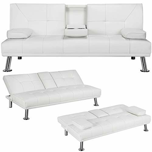 Yaheetech Futon Sofa Bed Sleeper Sofa Modern Faux Leather Futon Convertible Sofa With Armrest Home Recliner Couch Home Furniture White 0