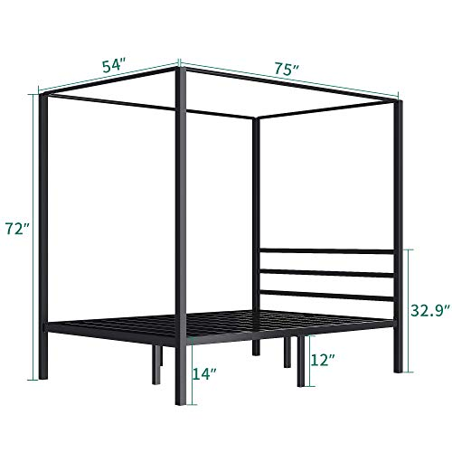 Yitahome Metal Four Posters Canopy Bed Frame 14 Inch Platform With Built In Headboard Strong Metal Slat Mattress Support No Box Spring Needed Black Full Size 0 3