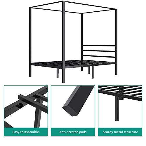 Yitahome Metal Four Posters Canopy Bed Frame 14 Inch Platform With Built In Headboard Strong Metal Slat Mattress Support No Box Spring Needed Black Full Size 0 4