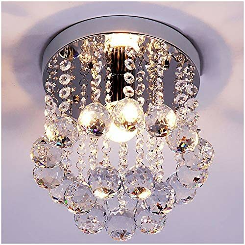 Zeefo Crystal Chandeliers Light Mini Style Modern Decor Flush Mount Fixture With Crystal Ceiling Lamp For Hallway Bar Kitchen Dining Room Kids Room 8 Inch 0