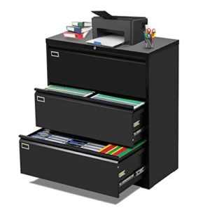 3 Drawer Lateral File Cabinet With Lock Metal Office Lateral Filing Cabinet Pataku Large Capacity File Cabinet For Home And Office Black 0