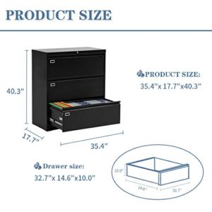 3 Drawer Lateral File Cabinet With Lock Metal Office Lateral Filing Cabinet Pataku Large Capacity File Cabinet For Home And Office Black 0 4