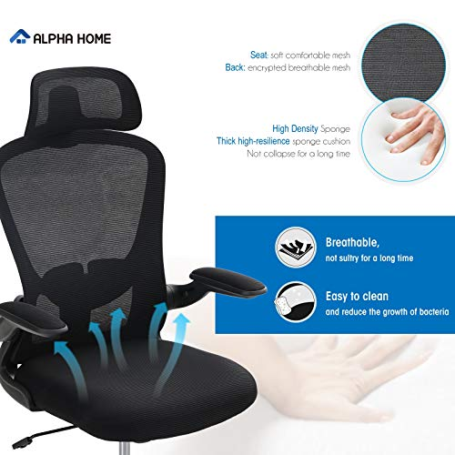 Alpha Home Ergonomic Office Chair Mid Back Computer Desk Chair With Flip Up Tufted Armrest Executive Adjustable Mesh Chair With Lumbar Support Headrest Rolling Swivel Chair Capacity 250Lbs 0 1