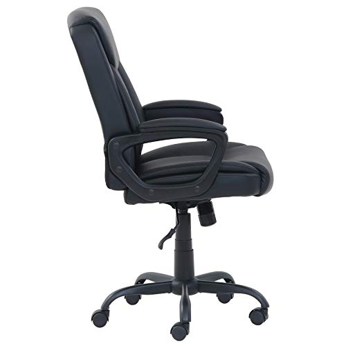 Amazon Basics Classic Puresoft Pu Padded Mid Back Office Computer Desk Chair With Armrest Black 0 1
