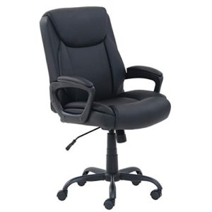 Amazon Basics Classic Puresoft Pu Padded Mid Back Office Computer Desk Chair With Armrest Black 0