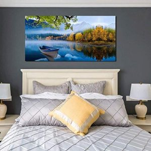 Arjun Lake Canvas Wall Art Prints Blue Sky Natural Landscape Painting Panoramic Mountain Picture Artwork Autumn Framed For Living Room Bedroom Home Office Wall Decor 60X30 Large Size One Panel 0 0
