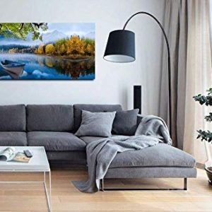 Arjun Lake Canvas Wall Art Prints Blue Sky Natural Landscape Painting Panoramic Mountain Picture Artwork Autumn Framed For Living Room Bedroom Home Office Wall Decor 60X30 Large Size One Panel 0 3