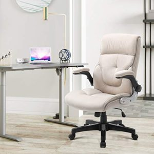 B2C2B Ergonomic Executive Office Chair Fabric Computer Desk Chair Adjustable Racing Chair Task Swivel Chair Armrest Thick Padding For Comfort And Ergonomic Design For Lumbar Support Beige 0 0