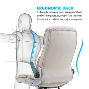 B2C2B Ergonomic Executive Office Chair Fabric Computer Desk Chair Adjustable Racing Chair Task Swivel Chair Armrest Thick Padding For Comfort And Ergonomic Design For Lumbar Support Beige 0 2