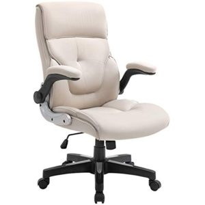 B2C2B Ergonomic Executive Office Chair Fabric Computer Desk Chair Adjustable Racing Chair Task Swivel Chair Armrest Thick Padding For Comfort And Ergonomic Design For Lumbar Support Beige 0