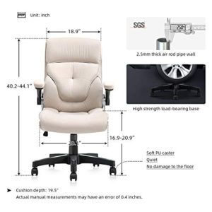B2C2B Ergonomic Executive Office Chair Fabric Computer Desk Chair Adjustable Racing Chair Task Swivel Chair Armrest Thick Padding For Comfort And Ergonomic Design For Lumbar Support Beige 0 4