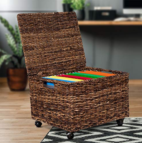 Birdrock Home Seagrass Rolling File Cabinet Storage Organizer Box With Lid Home Office Decor Decorative Organize Letter Legal Hanging Filing Container Strong Durable Toy Pillow Espresso 0 2