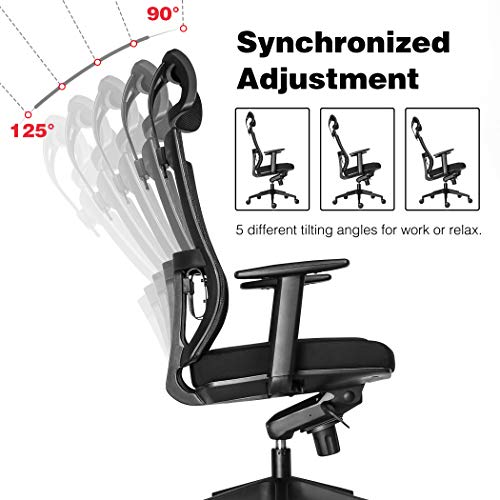Becko Office Chair Ergonomic Home Office Desk Chair With Mesh Computer Chair With Comfy Seat Cushion Breathable Backrest Adjustable Lumbar Support Armrests Headrest 0 0