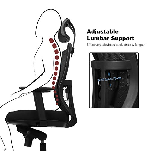 Becko Office Chair Ergonomic Home Office Desk Chair With Mesh Computer Chair With Comfy Seat Cushion Breathable Backrest Adjustable Lumbar Support Armrests Headrest 0 1