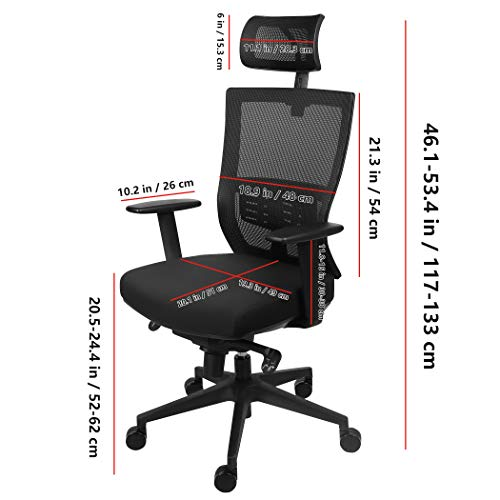 Becko Office Chair Ergonomic Home Office Desk Chair With Mesh Computer Chair With Comfy Seat Cushion Breathable Backrest Adjustable Lumbar Support Armrests Headrest 0 4