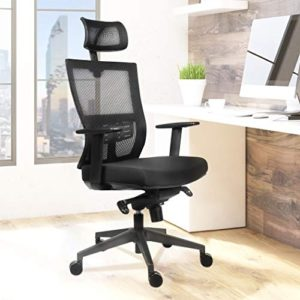 Becko Office Chair Ergonomic Home Office Desk Chair With Mesh Computer Chair With Comfy Seat Cushion Breathable Backrest Adjustable Lumbar Support Armrests Headrest 0 5