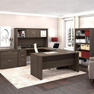 Bestar Logan Collection 3 Piece Set Including An U Or L Shaped Desk With Hutch A Lateral File Cabinet And A Bookcase 0 1