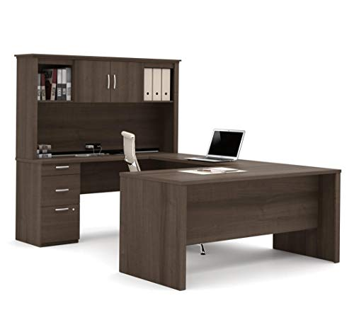 Bestar Logan Collection 3 Piece Set Including An U Or L Shaped Desk With Hutch A Lateral File Cabinet And A Bookcase 0