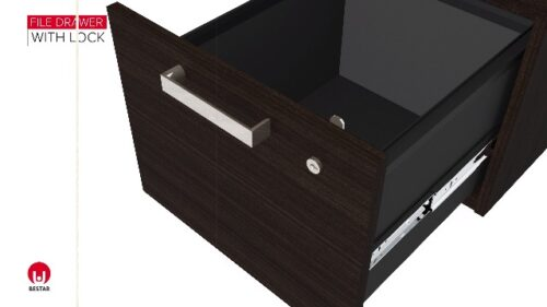 Bestar Ridgeley Collection Modern Executive Computer Desk With Pedestal And Hutch 0 4