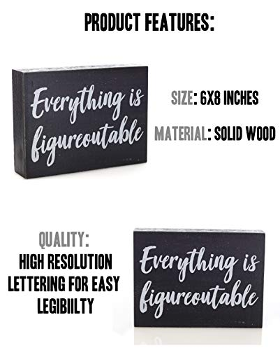 Black Decor Home Office Desk Everything Is Figureoutable Sign Inspirational Farmhouse 0 5