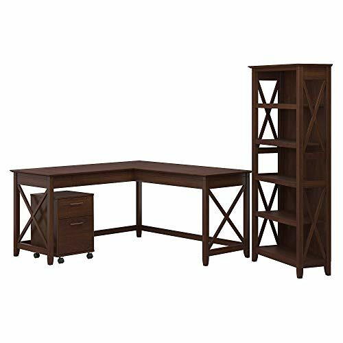 Bush Furniture Key West 60W L Shaped Desk With 2 Drawer Mobile File Cabinet And 5 Shelf Bookcase Bing Cherry 0