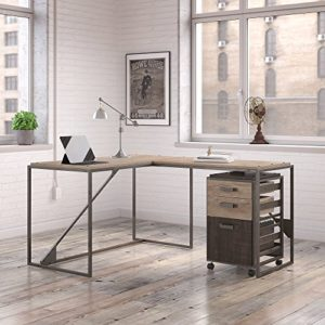 Bush Furniture Refinery 50W L Shaped Industrial Desk With 37W Return And Mobile File Cabinet In Rustic Gray 0 0