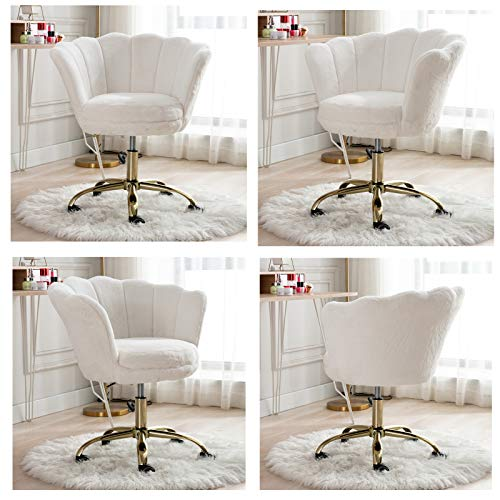 Cimota White Desk Chair Fluffy Task Vanity Chair Home Office Chair Adjustable Rolling Swivel Chair With Wheels For Teens Adults Bedroom Study Room Faux Fur 0 0