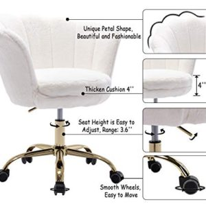 Cimota White Desk Chair Fluffy Task Vanity Chair Home Office Chair Adjustable Rolling Swivel Chair With Wheels For Teens Adults Bedroom Study Room Faux Fur 0 1