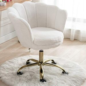 Cimota White Desk Chair Fluffy Task Vanity Chair Home Office Chair Adjustable Rolling Swivel Chair With Wheels For Teens Adults Bedroom Study Room Faux Fur 0