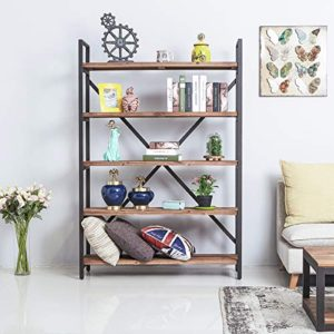 Care Royal Vintage 5 Tier Open Back Storage Bookshelf Industrial 695 Inches H Bookcase Decor Display Shelf Living Room Home Office Real Natural Reclaimed Wood Sturdy Rustic Brown Metal Frame 0 0