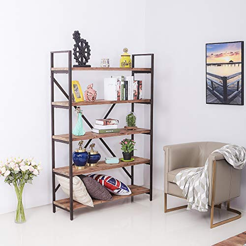 Care Royal Vintage 5 Tier Open Back Storage Bookshelf Industrial 695 Inches H Bookcase Decor Display Shelf Living Room Home Office Real Natural Reclaimed Wood Sturdy Rustic Brown Metal Frame 0 1