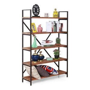 Care Royal Vintage 5 Tier Open Back Storage Bookshelf Industrial 695 Inches H Bookcase Decor Display Shelf Living Room Home Office Real Natural Reclaimed Wood Sturdy Rustic Brown Metal Frame 0