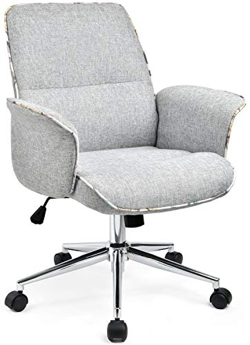Comhoma Home Office Desk Chair Modern Fabric Upholstered Classic Adjustable Mid Back Ergonomic Executive Conference Chair Gray 0 0