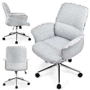 Comhoma Home Office Desk Chair Modern Fabric Upholstered Classic Adjustable Mid Back Ergonomic Executive Conference Chair Gray 0